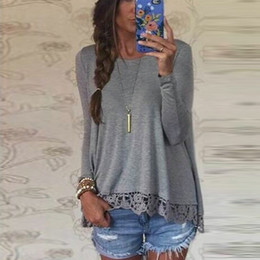 $enCountryForm.capitalKeyWord NZ - Wholesale-New Fashion 2016 Autumn T Shirt Women Long Sleeve O-Neck Casual Tops Sexy Lace Crochet Top Tees Blusas Plus Size