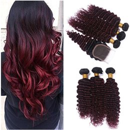 red wine ombre human hair weave NZ - Deep Wave 1B 99J Burgundy Ombre Malaysian Virgin Human Hair Weaves 3Bundles with Wine Red Ombre 4x4 Lace Front Closure 4Pcs Lot