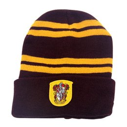 Harry Potter Hat Kids Striped Badge Gryffindor Slytherin Hufflepuff  Ravenclaw Winter Warm Knitted Wool School Children College Ravenclaw Cap ba3a63ff5b6f