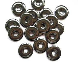Tienda de venta 6 unids hematita donut piedra 30 mm, disco de plata gris hematita de piedras preciosas pi donut focal colgante joyería hemaite en venta