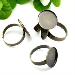 $enCountryForm.capitalKeyWord Canada - WHOLESALE FREE SHIPPING 50pcs inner 15 25mm Cabochon setting ANTIQUE BRONZE Adjustable RING BASE BLANK with teeth ring FINDINGS