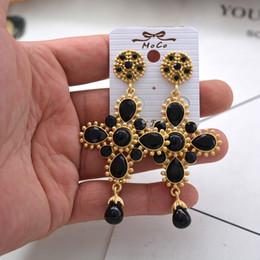 $enCountryForm.capitalKeyWord Canada - New Design Baroque Retro Drop Earring Crystal Rhinestone Big Cross Earrings Enameled Drop Water Cross Earrings Romantic Jewelry