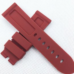 $enCountryForm.capitalKeyWord UK - 24mm 115mm 75mm Fashion Red Replace Silicone Rubber PAM Band Strap for PAM LUNMINOR RADIOMIR Wristwatch