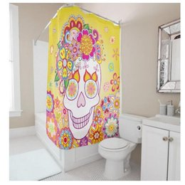 Shower Curtain Diy Canada - Customs 36 48 60 66 72 (W) x 72 Inch (H) Skulls Flowers Waterproof Polyester Fabric Shower Curtain Bathroom Use DIY Shower Curtain