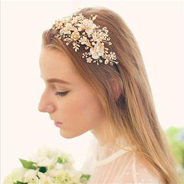 $enCountryForm.capitalKeyWord Australia - Vintage Wedding Bridal Headband Headpiece Hair Accessories Gold Crystal Rhinestone Pearl Crown Tiara Princess Queen Hair Jewelry Headdress