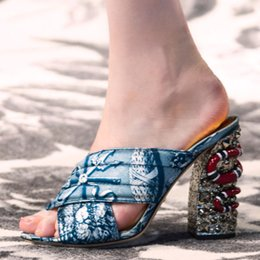 $enCountryForm.capitalKeyWord Canada - The snake coiled beading chunky heel slides for women shoes high heels latest design crossing belt women summer leather slippers mules 2016