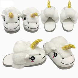 Discount warm shoes for winter - New unicorn Plush Slippers unicorn Half heel Soft Warm Household Winter Slippers for women man big children Shoes 29*12.