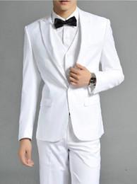 $enCountryForm.capitalKeyWord Canada - White One Button Lapel Man Suits Custom Made Bridegroom Wear Groom Tuxedos Set 3 Piece (Jacket+Pants+Vest)handsome new design