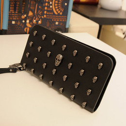 $enCountryForm.capitalKeyWord Canada - Women Cool Skull Studs Black Clutch Bags Rivets PU Leather Purse Zipper Card Holder Punk Coin Pocket Wallets