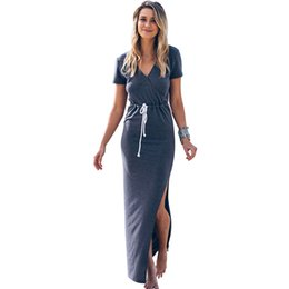 Robe Maxi De Cordon Pas Cher-DS259 Femmes col V Printemps Eté Side de Split Drawstring plage Boho longue Maxi Dress Ladies Bohemia Sundress Plus Size S-XL Nouveau