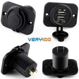 Motorcycle Outlet Canada - Dual 2 USB Outlet 1A & 2.1A Port Socket Charger For Car Boat Motorcycle 12 volt