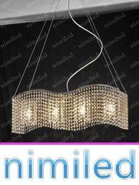 Discount rectangular pendant chandeliers - nimi754 L75cm*W20cm Rectangular Wave Design Study Lamp Bedroom Continental Dining Restaurant Pendant Lights K9 Crystal C