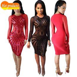 9e62fbf3f957 2016 O-neck Sexy Beach Maxi Red Mesh Stretch Tight Slim Bodycon Women Black  Pencil Summer Club Mini Sequins Dress Dresses
