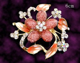 Red Indian Costumes Australia - Wholesale hot sell Women fashion flower zinc alloy rhinestone Brooches costume jewelry Free shipping 12pcs lot Mixed colors BH600