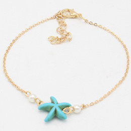 Chinese  Latest Simple Gold Indian Anklet Designs Pearl Anklet Bracelets For Women Ladies Fake Turquoise Starfish Anklets Jewelry Freeshipping manufacturers