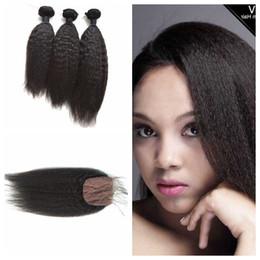 Shed Base NZ - 4pcs Lot Mongolian Kinky Straight Human Hair Weave With Silk Base Closure No Shedding No Tangle G-EASY DHL FREE