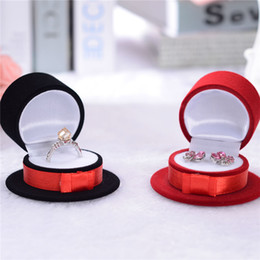 Discount cute wedding package - Cute Black Or Red Hat Velvet Gift Jewelry Box For Earrings Ring Packaging And Display Wedding Engagement 59x59x36MM