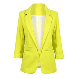 Blazers Femmes Vertes Pas Cher-Blouson à manches longues pour femmes Blazer Jacket Suit de haute qualité Blue Green Cardigan rose manteau Slim lady tops Outerwear
