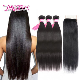 Unprocessed Human Hair Canada - Brazilian Straight Virgin Hair With Closure Top 7A Unprocessed Virgin Brazilian Human Hair Weaves Closure 3 Bundles With Lace Closure
