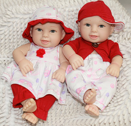 $enCountryForm.capitalKeyWord Canada - 10 Inch Handmade Full Body Silicone Vinyl Doll Reborn Twins Princess Girl And Boy Babies With Painted Hair Kids Christmas Birthday Gift