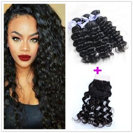 Hair Straightening Products Wholesale NZ - 7a Grade Brazilian Virgin Hair With Closure Curly Deep Wave Remy Queen Hair Products 3 Bundles With 4x4 Lace Closure