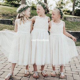 girls white tea length dress NZ - Cheap White Ivory Lace Tea Knee Length Flower Girls Dresses 2019 Sheer Jewel Neck Pleated Tulle Kids Pageant Gown First Communion Dresses
