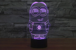 2017 minions style 3d night lamp optical night light 10 leds night light dc 5v factory wholesale