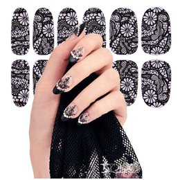 Vente De Vernis À Ongles Pas Cher-Date ongles des ventes du commerce extérieur autocollants polonais Autocollants de dentelle noire Nail Art Stickers Stickers Manicure 16styles 12 clous collent 4159