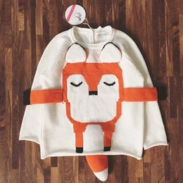 Barato Pulôver De Tricô Fox-Kids Clothes Sweater Algodão Cartoon Fox Pullover Sweater Knits Knitwear Branco Casual Meninas Camisolas Baby Clothes 151