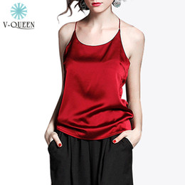Spaghetti En Gros Pas Cher-Gros-V-QUEEN femmes soie Halter Top Camisole New 2016 Summer Spaghetti Strap Backless Sexy Party réservoir Crop Top Plus Size XXL B1604075