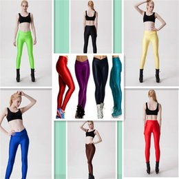 Barato Leggings De Pele Sexy-Moda Hot Girls Skinny Sexy Stretch Seamless Sports calças levantar os quadris V-cintura calças brilhantes fluorescentes de cor de leggings coloridos 10