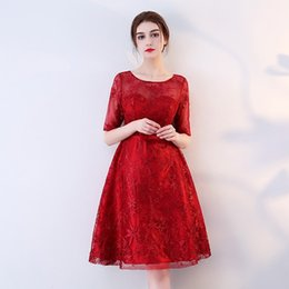 f9801e4948a In Stock Really Photo Elegant Wine Red Lace Embroidery Scoop Neck Half  Sleeve Tea Length Zipper Bridemaid Dress Evening Dress