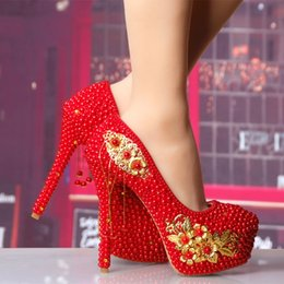 New red Chinese wedding shoes high with waterproof Taiwan fine with the  bride golden flower tassel pendant party shoes ed8d8fdece5a