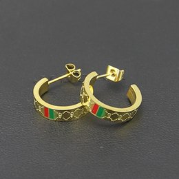 Fashion studs earrings online shopping - Fashion jewerly Stud Earrings K gold plated stainless Steel Semicircle Classical Love Earrings For Women couple Jewelry gift