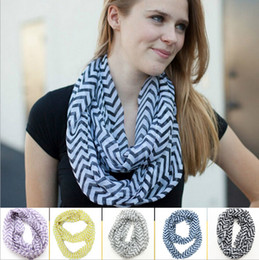Discount gold color print scarves - 2017 NEW Chevron Wave Print Scarf Circle Loop Cowl Infinity Scarves Ladies Scarves Voile Multi color printing woven scar