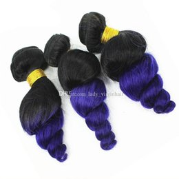 8a Human Hair Loose Wave Canada - 3Pcs Lot 8A Brazilian Ombre Loose Wave Hair Bundles Brazilian Purple Wavy Human Hair Weave Two Tone 1B Purple Ombre Hair Extensions