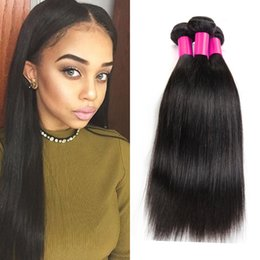 Best Unprocessed Human Hair Extensions Canada - Brazilian human Hair extensions Malaysian Peruvian Mongolian Cambodian Unprocessed Straight Hair Bundles Dyeable Best Quality Hair Weave 7A