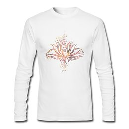 Bright Clothes UK - Print men's tshirts customizable Unique art lotus printed male long sleeve clothing cosy pure cotton cloth A bright lotus for man
