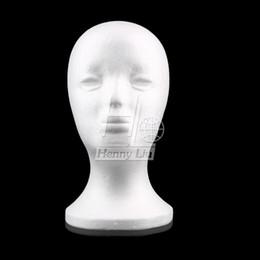 Venta al por mayor de Al por mayor-Mujer Espuma de poliestireno Espuma maniquí Maniquí cabeza modelo peluca pelo gafas sombrero exhibición de la joyería