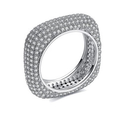 China Victoria Wieck Top Luxury Jewelry 925 Sterling Silver Pave Setting Full Tiny White Sapphire CZ Diamond Wedding Women Band rectangle Ring cheap top engagement ring settings suppliers