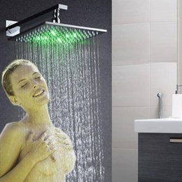 10 inches led rain shower head brass square chrome concealed mouonted led rain shower head - Rain Shower Heads