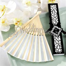 $enCountryForm.capitalKeyWord NZ - Free Shipping 50pcs lot!Wedding Favors Bamboo Silk Fans with Laser Cut Gift Box white Black Silk Fan Wedding Decoration Party Supplie Shower
