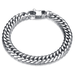 China Heavy Metal Biker Men's Cuban Curb Link Chain Bracelets Cuff Wristband High Polish Punk Rock Mens Jewelry cheap punk rock wristband bracelets suppliers