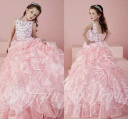 $enCountryForm.capitalKeyWord Canada - Newest 2018 Pink Girls Pageant Dresses Sheer Crew Neck Beaded Crystals Rhinstone Ball Gown Princess Kids Formal Dresses For Little Girls