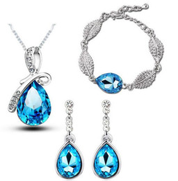 swarovski bracelet wholesale Canada - New Fashion 18K White Gold Plated Waterdrop Austrian Crystal Necklace Earrings Bracelet Jewelry Sets for Women Made With Swarovski Elements