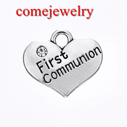 Wholesale Engraving Plate Gold 18k NZ - Hot Selling DIY Fashion Jewelry Antique Silver Plated Heart Shape Engraved First Communion Love Heart Charm