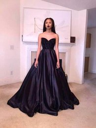 trendy beads 2019 - Black Long Evening Dresses 2016 Sweetheart with Beads Corset Sexy Back A Line Elastic Satin Red Carpet Gowns New Trendy