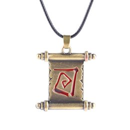 Silver Rolled Chain Canada - vintage copper plated Ancient dota2 scroll volume roll dota 2 reel necklace red Incantation spell Rune book pendant Amulet necklace x321