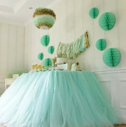 polyester table skirting 2019 - newest Wedding Tulle Tutu Table Skirt Custom Made Colors Birthdays Dessert Station Skirt Baby Showers Party Table Decora