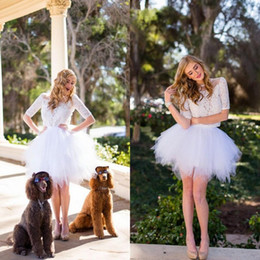 $enCountryForm.capitalKeyWord Canada - New Fashion 2016 White Lace And Tulle Short Two Piece Homecoming Dresses Cheap Sheer Jewel Short Sleeve Prom Party Gowns Custom Made EN90910
